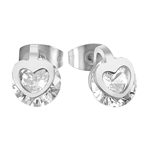 fonk: Romance Love with Crystal Earring Cubic Zircon Stainless Steel 18K Gold Plated Stud Earrings