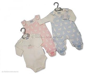 BABYPREM Baby Clothes Tiny Baby Newborn 3m Dungaree Vest /& Bib Set Outfit