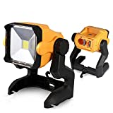 Aimaya LED Work Light Powered by Cordless Tool Battery 20W 2800LM LED Working Light Battery Powered or DC Adapter Portable Work Light Hanging Hook for Jobsite Workshop Construction Site