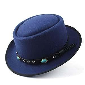 2019 Mens Womens Hats Unisex Men Women Flat Top Hat Autumn Fashion Pop Church Travel Hat Wool Pork Pie Hat Flat Fedora Hat for Gentleman Elegant Lady Gambler Trilby (Color : Blue, Size : 58)