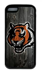 Cincinnati Bengals Wood Iphone 5C Black Sides Rubber Shell Case by eeMuse
