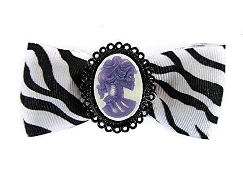 Hairy Scary White & Black Zebra Bow w