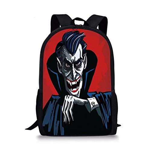 School Bags Vampire,Cartoon Cruel Old Man with Cape Sharp Teeth Evil Creepy Smile Halloween Theme,Blue Red Grey for Boys&Girls Mens Sport -