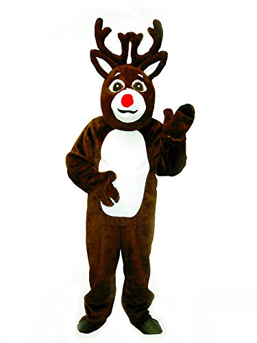 [Deluxe Christmas Reindeer Suit with Mascot Head Adult Costume Size 50 Large] (Deluxe Reindeer Mascot Costumes)