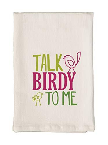 Studio M Bird Nerd Talk Birdy to Me Soft, Absorbent Flour Sack Tea Towel, 100% Cotton, Cute Trendy Funny Whimsical, 26 x 26 Inches ()