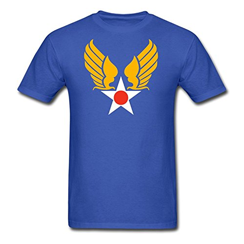 Aozeen Men's Royal Blue Summer Casual Short Sleeve Cotton United States Army Air Corps Wings Funny T-Shirt