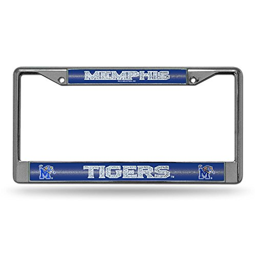 NCAA Memphis Tigers Bling Chrome License Plate Frame with Glitter Accent