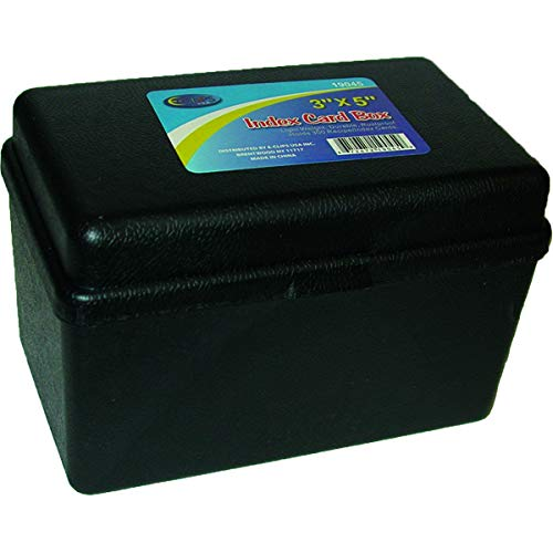 ECLIPS Index Card Box, 3''x 5'', Black, Case Pack of 48, Ideal for Bulk Buyers by AUKSales