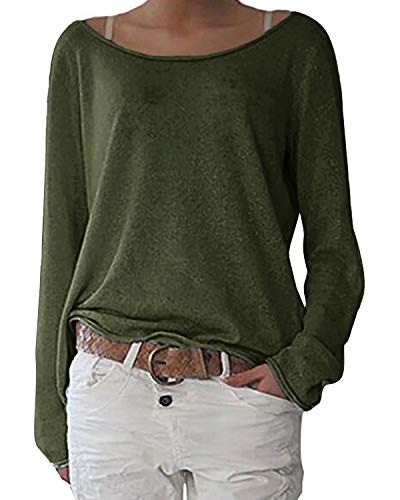 ZANZEA Women's Solid O Neck Long Sleeve T Shirt Casual Knit Tops Blouse Pullover Army Green US 16/Tag Size 2XL ()