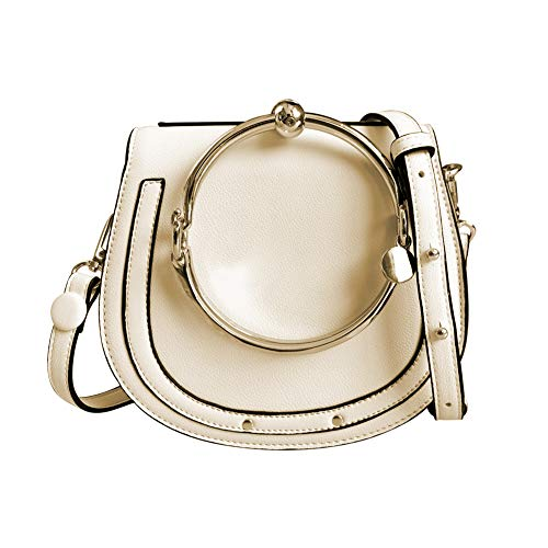 Normia Rita Cowhide Leather Top Handle Handbags Ring Purse Vintage Crossbody Shoulder Bags