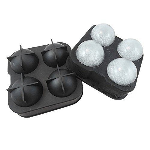 Evelin LEE Novelty Grade Silicone Ice Mold Created 4pcs 4.54.5cm Chill Balls (Black) - Lee Round Ball Mold