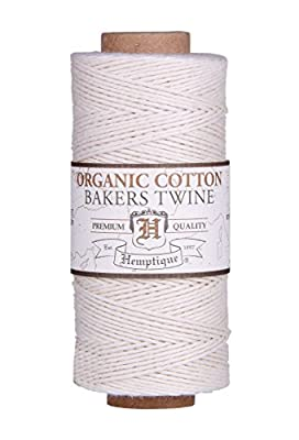 NATURAL Organic 1mm Bakers Twine 100% Cotton 2 Ply Hemptique Macrame Craft Artisan String (410ft Spool)