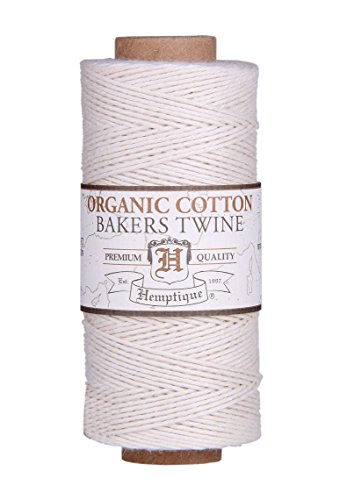 NATURAL Organic 1mm Bakers Twine 100% Cotton 2 Ply Hemptique Macrame Craft Artisan String (410ft Spool) ()