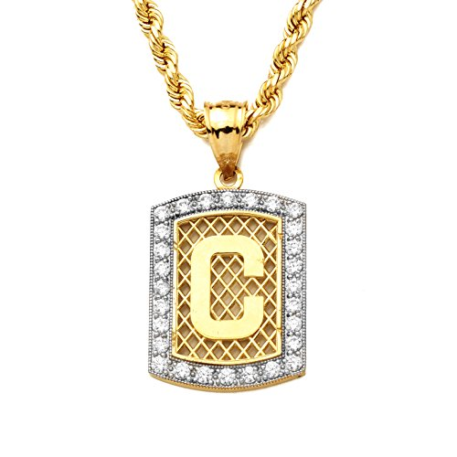 MR. BLING 10K Yellow Gold Dog Tag Initials Charm Pendant w/CZ Border (Available from A-Z) (C) - Yellow Gold Dog Charm