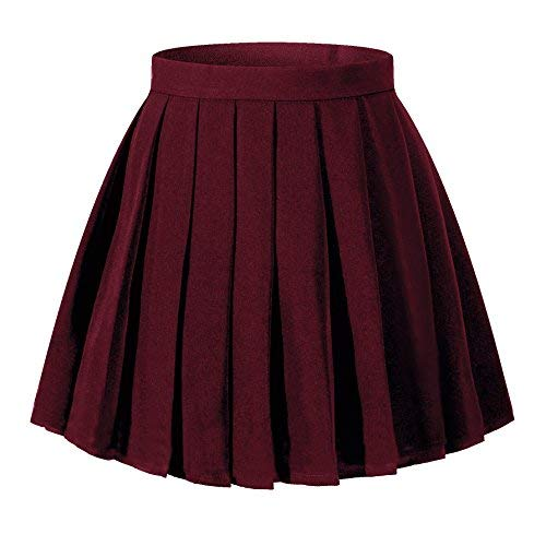 Beautifulfashionlife Women`s High Waist Mini Juniors Tab Scooter Pleated Skirts with Zip (4XL,Wine Red) -