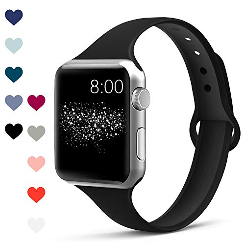 Merlion Compatible with Apple Watch Band 38mm 42mm 40mm 44mm for Women/Men,Soft Silicone Thin Narrow Replacement Slim Bands for iWatch Series 4/3/2/1