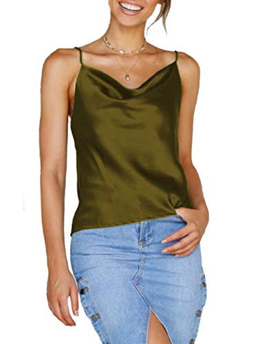 (Famulily Women Silk Cami Crop Top Summer Casual Cowl Neck Sleeveless Tank Top with Adjustable Strap Camisole Vest Army Green M)