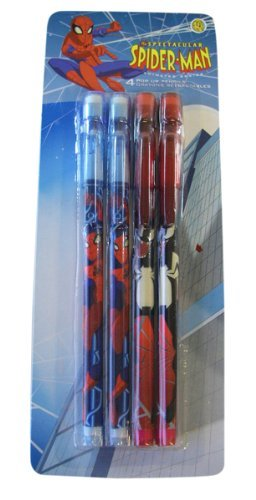 Marvel Spider-man Pop Up Pencils ( Pack of 4) Spiderman P...