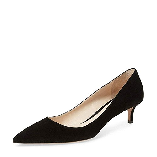 (YDN Women Low Kitten Heel Pumps Pointed Toe Dress Shoes for Office Lady Soft Suede Black 9)