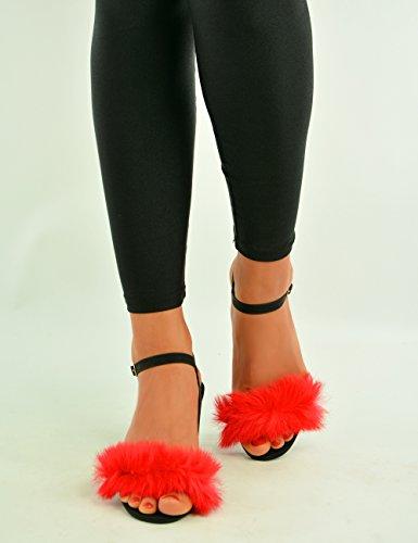 Cucu Fashion Brand New Womens Fluffy Sandals Ladies Mid Block Heel Ankle Strap Faux Fur Peep Toe Summer Shoes Size UK 3 4 5 6 7 8 Red pBdXm3Db
