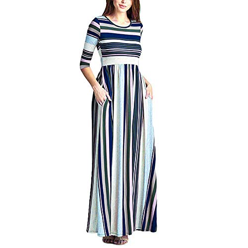 Bias Cut Skirt Cotton (HITRAS Clearance!Womens Dress!Women 3/4 Sleeve Stripe Elastic Waist Pocket Casual Party Dress)