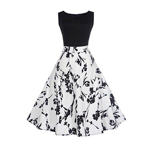 ess, ღ Ninasill ღ Vintage Printing Bodycon Sleeveless Skirt Blouse Tops Tank (M, White) ()