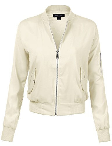 Solid Color Long Sleeve Fitted Style Zip Up Bomber Jackets