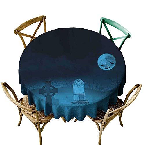 cobeDecor Gothic Easy Care Tablecloth Ghostly Graveyard Illustration Horror Halloween Dead Danger Theme Full Moon Bat Mystery D70 -