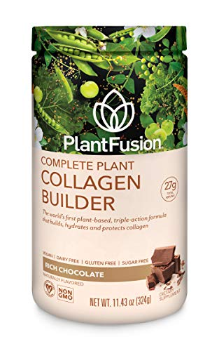 (PlantFusion Collagen Builder, Vegan Plant Based Protein Powder, Non-GMO, Chocolate, 11.42oz Tub)