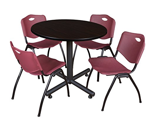 Regency Kobe 36-Inch Round Breakroom Table, Mocha Walnut, and 4 M Stack Chairs, Burgundy