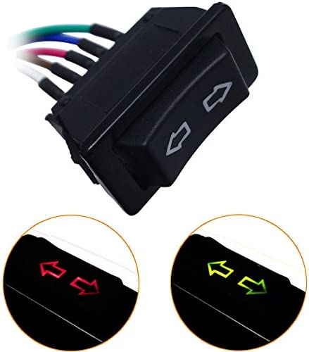 FEELDO Universal 5pins Car Single Power Window Switch with Wire /& Green//Red Illumination Indicator 12V//24V red