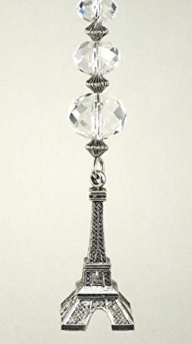 Silvery Eiffel Tower with Clear Faceted Glass Ceiling Fan Pull Chain