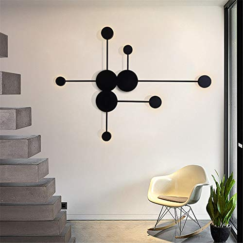 """BAYCHEER Contemporary LED Wall Light Nordic Round Shape with 6 Lights Creative Decoration 24W Wall Sconce Lighting 35.8"""" Acrylic Modern Wall Sconce for Living Room, Kitchen in Black Cool Light from BAYCHEER"""
