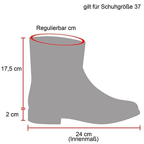 Damen Schlupfstiefel Warm Gefütterte Stiefel Leder Stiefeletten Wildleder-Optik Boots Profilsohle Schuhe Übergrößen Flandell Schwarz-Knopf