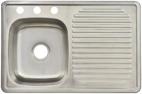 Franke FDBS703BX 3-Hole Single-Bowl Top Mount Kitchen Utility Sink, Stainless Steel