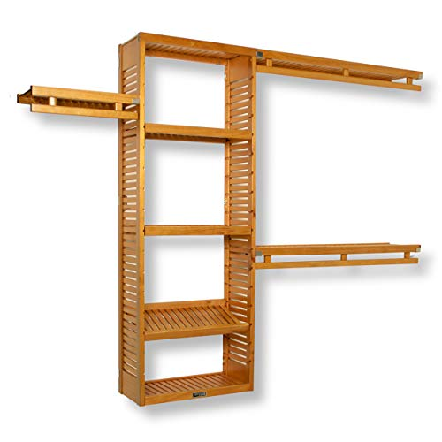 John Louis Home JLH-530 12in Deep Simplicity Closet Organizer, Honey Maple Finish, 12 inch,