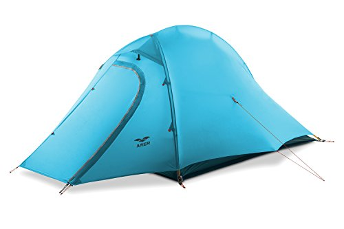 MIER 2 Person Camping Tent with Footprint Waterproof Backpacking Tent, Lightweight & Quick Setup, Blue, 4 Season (Tent 2 Person Trail)