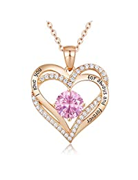 CDE Forever Love Heart Necklace 925 Sterling Silver Rose Gold Plated Birhtstone Pendant Necklaces for Women with 5A Cubic Zirconia Jewelry Birthday