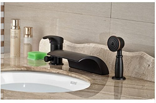 Gowe Modern 3pcsOil Rubbed Bronze Bathroom Waterfall Basin Faucet Sink Mixer Deck Mounted 0