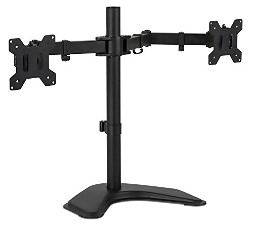 Mount-It! MI-2781 Dual Monitor Desk Stand LCD Mount, Adjustable, Free Standing Two Computer LED Displays Stand 20, 23, 24, 27 Inch Screen Sizes, Black