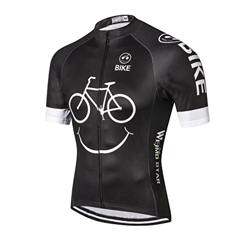 (Men's Cycling Jersey Breathable Quick-Dry Tops Black-White)