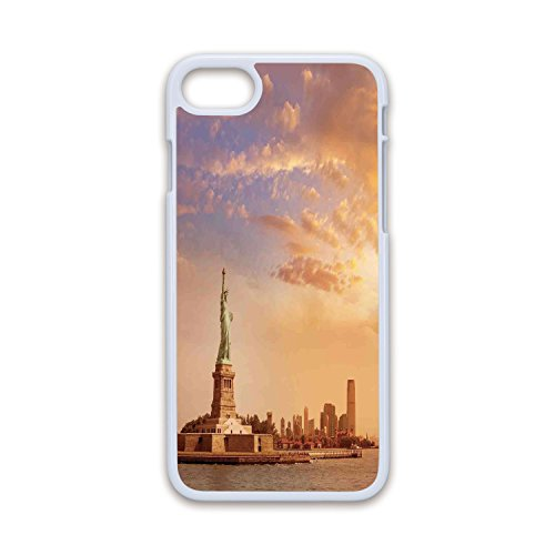 (Phone Case Compatible with iPhone7 iPhone8 White Soft Edges 2D Print,Sculptures Decor,Statue of Liberty American Freedom Symbol on NYC Sunset Along with River Skyscraper,Yellow White,Hard Plastic)