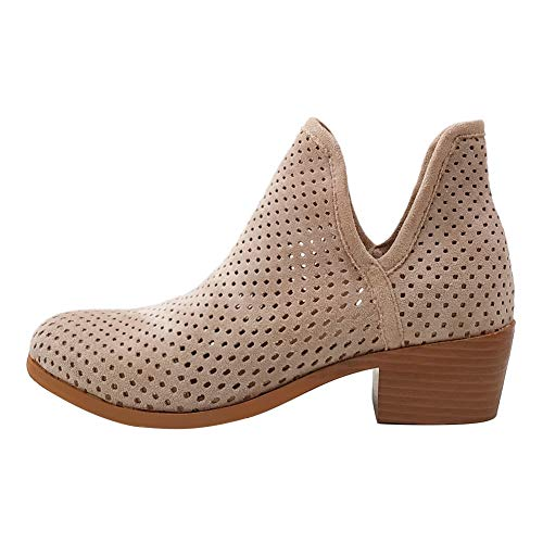 (June in love Women's Basel Ankle Bootie Hollow Out Shoes Cavalry Boots Beige 8US)