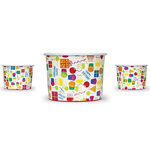 12 oz Happy Birthday Cups Combo Pack! 24 Cups And 24 Color Changing Spoons, Spoons Change From Pink-Purple Or White-Blue! Perfect Birthday Parties, Ice Cream, Cake And So Much More!