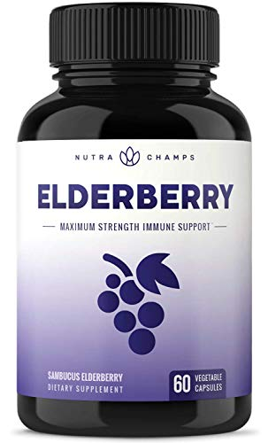 (Elderberry Capsules 1200mg - Premium Supplement for Powerful Immune System Support & Relief from Cold, Flu & Allergies - Black Elder Berry Extract Nigra Antioxidant Vitamin - 60 Vegan Pills)
