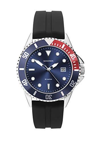 Sekonda Mens Black Rubber Strap Blue Dial Sports Watch 1623