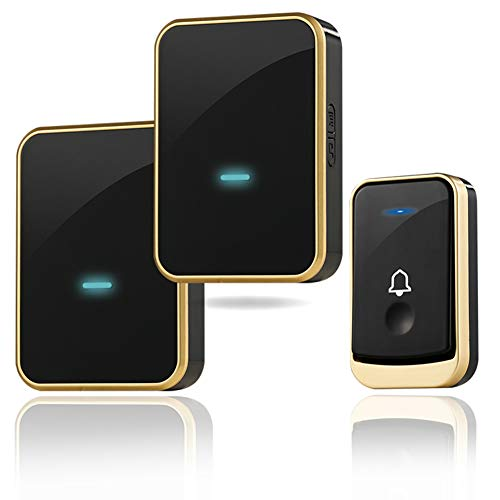 (Wireless Doorbell Kit, ThreeTreasures Door Bell Operating at Over 1300 Feet, Waterproof Door Chime Kit with Two Plug-in Receivers, LED Indicators, 45 Melodies, Easy Setup for Home and Office (Black))