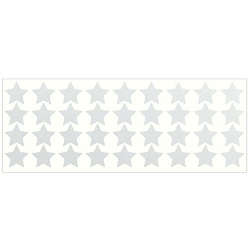 LiteMark Reflective White 1 Inch Stars Sticker Decals for Helmets, Bicycles, Strollers, Wheelchairs and More - Pack of 36 ()