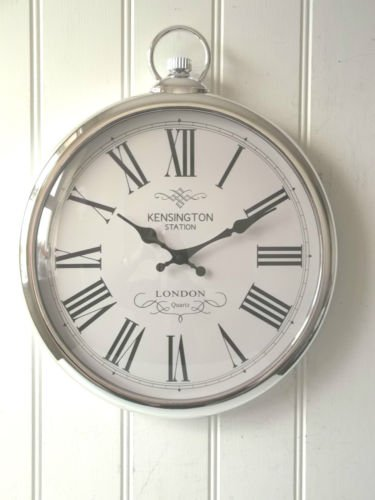 New Large Silver Pocket Watch Wall Clock- Perfect for any Living Room  MU46