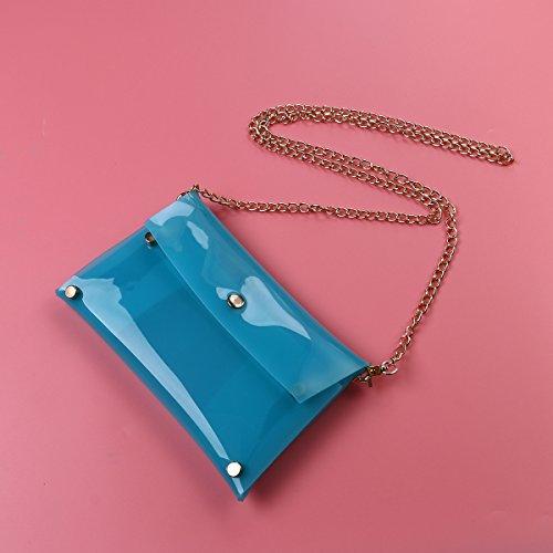 Tinksky Borsa a tracolla a tracolla a tracolla con borsa a mano in cinghia a catena, regalo per le donne (blu)